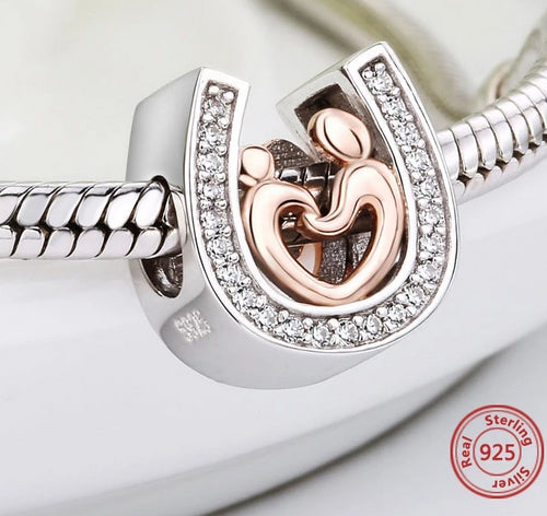 Silver 925 horseshoe CZ Charms diy Mom and son hand in hand Beads Fit Original pandora Bracelet pendant Jewelry making gifts