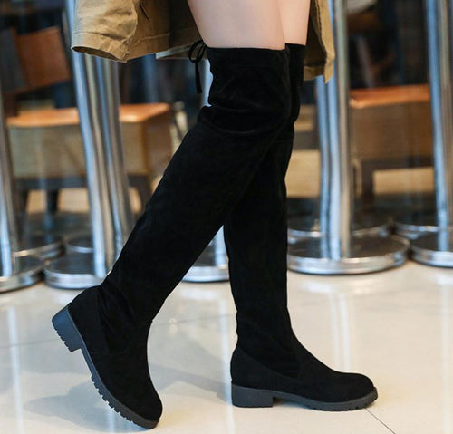 Winter Over The Knee Boots Women Stretch Fabric Women Thigh High Sexy Lace Up Woman Flat Shoes Long Bota Feminina