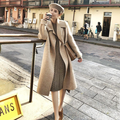Spring Autumn Women Elegant Wool Blend Long Coat Winter Casual Overcoat European Fashion Cashmere Jacket Outwear