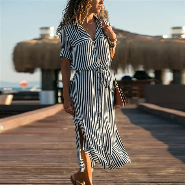 Summer Beach Chiffon Casual A-Line Long Sleeve Striped Shirt Dress Midi Holiday Party Dresses Vestidos
