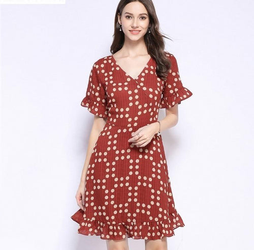 Summer Dress Women 2019 Plus Size Casual Red V-neck Flare Sleeve A-line Polka Dot Chiffon Dress Vestidos De Verano Robe Femme