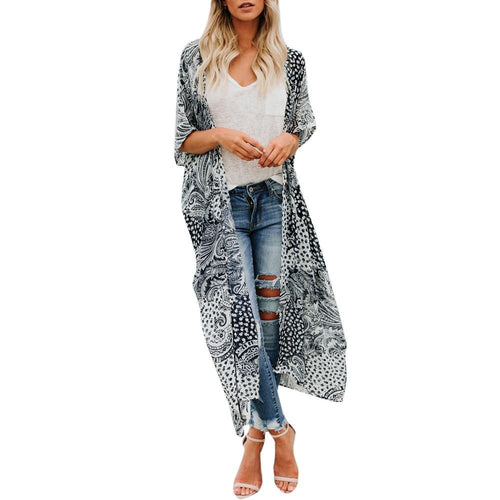 Summer Kimono Cardigan Womens Tops And Blouses Boho Print Shirts Half Sleeve Beach Ladies Top Long Clothing