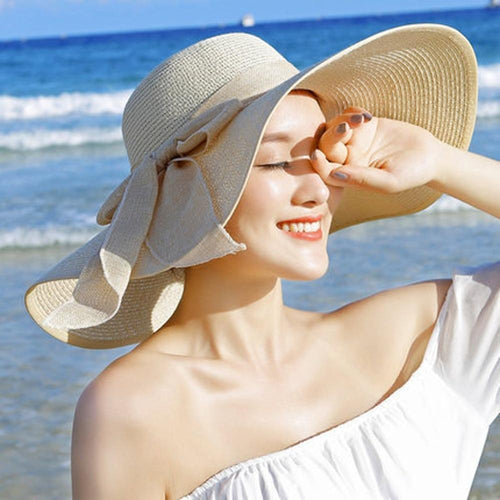 Summer Large Brim Straw  New 2018 Hat Floppy Wide Brim Sun Cap Bowknot Beach Foldable Hats