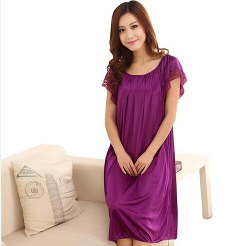 Summer Short-Sleeve Plus Size Sleepwear Viscose Lace Plus Size Nightgown Lounge