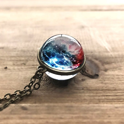 UNIVERSE IN A NECKLACE Solar System Double-sided Glass Cosmic Pattern Necklace Women Necklace