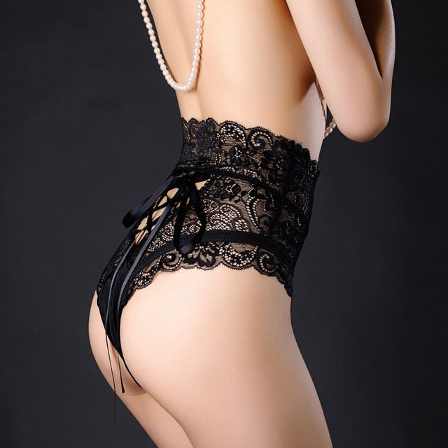 08d4bc7d3634 ... Load image into Gallery viewer, Sexy Lingeries Womens Black Lace-up  Underpants High Waist