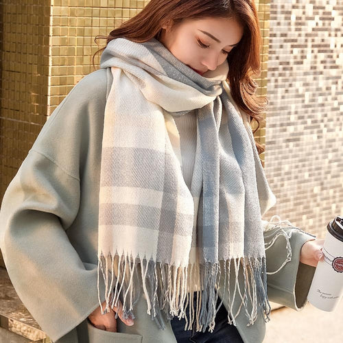 Veithdia Autumn Winter Female Wool Plaid Scarf Women Cashmere Scarves Wide Lattices Long Shawl Wrap Blanket Warm Tippet