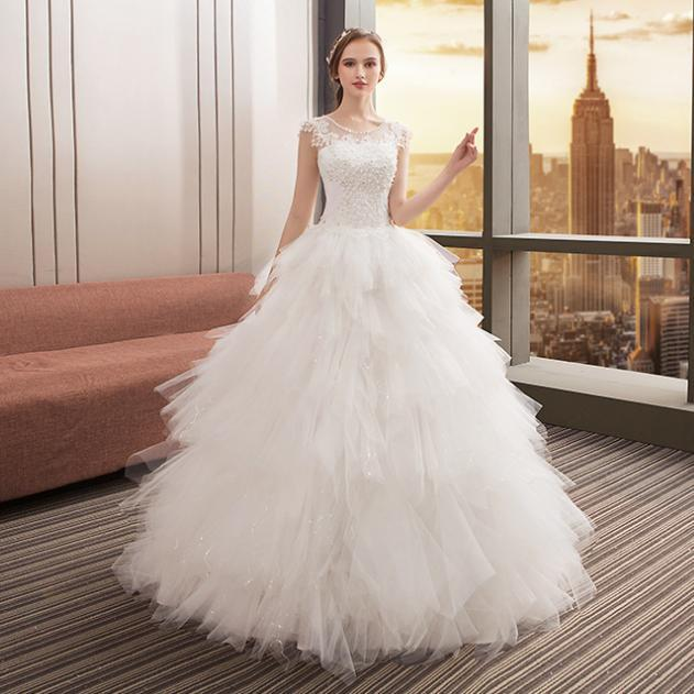 Crystal Pearls O Neck Feathers Ball Gown