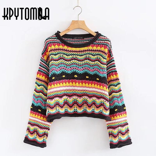 Vintage Sweet Multicolored Yarn Short Knit Sweater Women New Fashion O Neck Long Sleeve Ladies Pullovers Casual Pull Femme