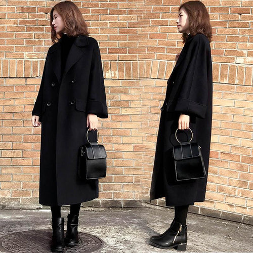 Vintage Long Double Breasted Winter Coat Loose Black Women Jacket