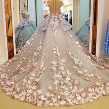 Load image into Gallery viewer, Shiny Floral Print O-Neck Ball Gown Wedding Dress Whole all Appliques 3D Flower Elegant Princess Bridal Gowns Hot Sale