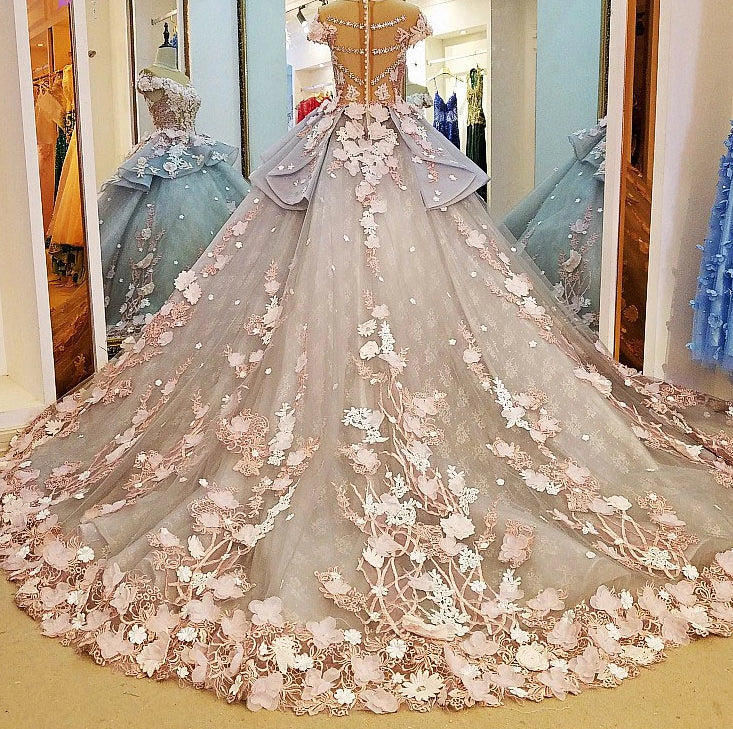Shiny Floral Print O-Neck Ball Gown Wedding Dress Whole all Appliques 3D Flower Elegant Princess Bridal Gowns Hot Sale