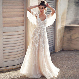 Wedding Dress 2018 Tulle Appliques V-Neck Backless With Cap Sleeves Lace  Romantic Bridal Gowns Vestido De Novia 3817aad19dcb