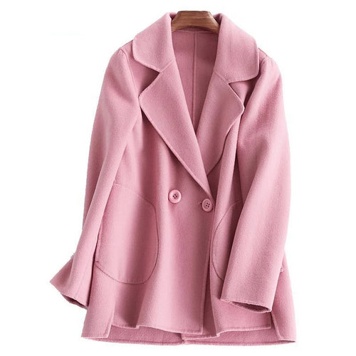 Winter Women Coat Short Jackets Sheep Wool Cashmere Coats Ladies Elegant Loose Trench Woolen Overcoat Oversize Manteau Femme