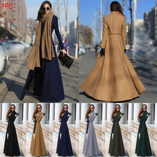 Women Fashion Spring Autumn Winter Slim Extra Long Woolen Coat Casual