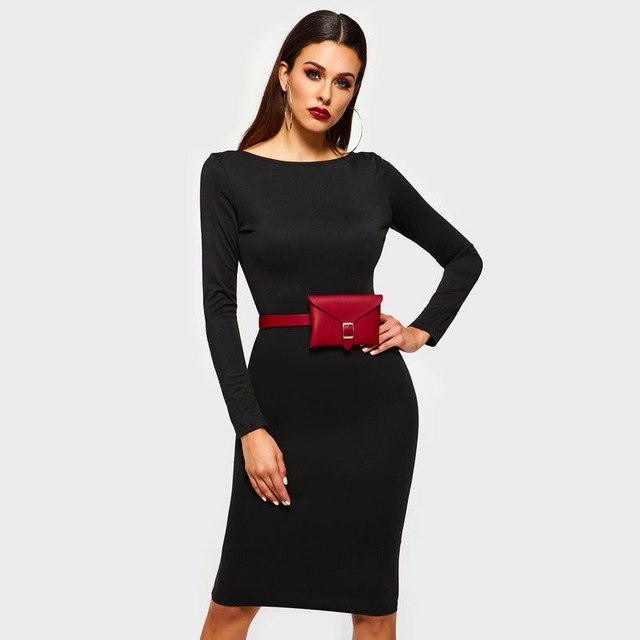 b312d1faf0 ... Load image into Gallery viewer, Women Midi Pencil Dresses Black Elegant  Spring Office Lady Sexy