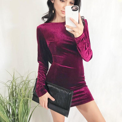 Women O-neck Bodycon Velvet Sexy Backless Cross Strap Party Elegant Office Lady Long Sleeve Wrap Mini Dress