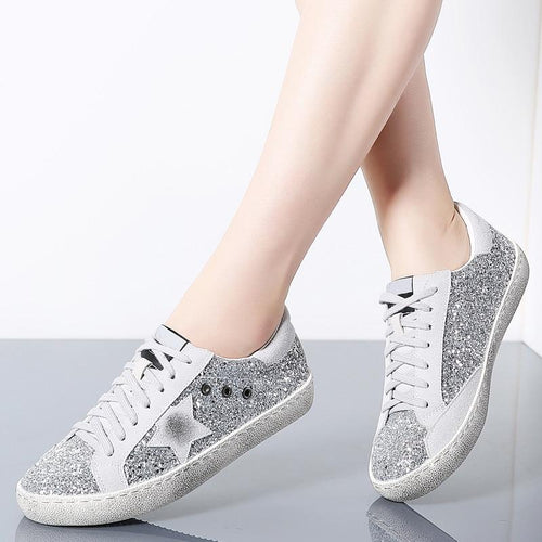 Women Shoes Casual Leather Do Old Dirty Women Flat Sequins Star Golden Glitter Trainers Woman Sneakers Female Moccasins