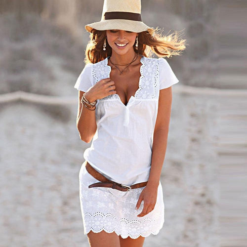Women Summer Sexy V Neck Lace Short Sleeve Dress Cotton Blend Solid Tunic Ladies Beach Cover
