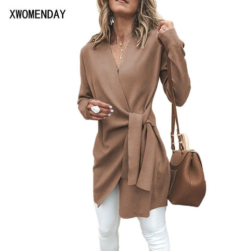 Women Winter Long Coat Wool Blends Autumn Deep-V Slim Woman Jacket Long Sleeve Wool Coats Ladies Irregular Female Coat Gray