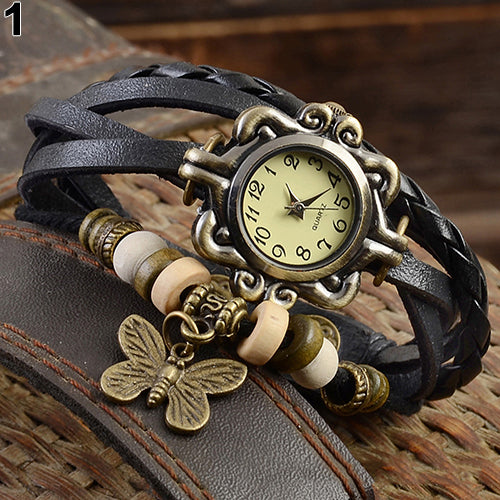 Women Casual Vintage Butterfly Faux Leather Bracelet Wrist Watch Ladies Female Clock