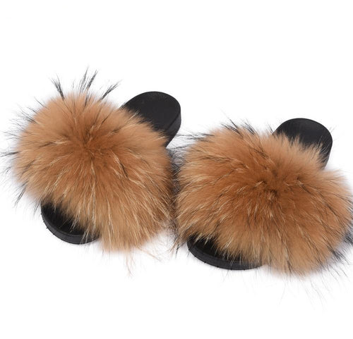 WomenS Fur Slipper Real Raccoon Fur Fashion Style Furry Slides Soft Warm Fur Shoes