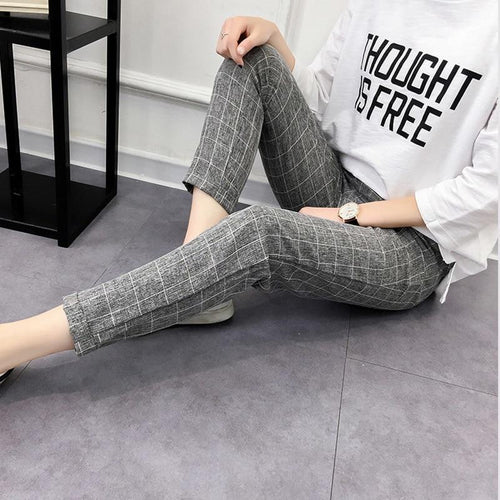 WomenS Plaid Pants Elastic Bow Tie Drawstring Casual Loose Pockets Trousers Autumn Fashion Harem Pants Plus Size