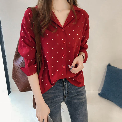 Polka Dot Shirts Casual Ladies Tops Print Blouse Plus Size Women Blouses Long Sleeve Shirt
