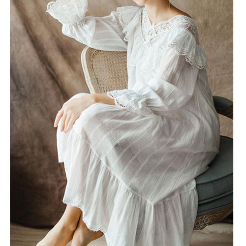 WomenS Vintage Gothic Victorian Night Dress White Cotton Flare Sleeve Deep-V Lace Embellished Ruffle Hem Autumn Nightgown