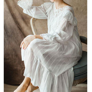 b86a3aca5e WomenS Vintage Gothic Victorian Night Dress White Cotton Flare Sleeve  Deep-V Lace Embellished Ruffle Hem Autumn Nightgown