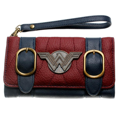 Women Wallet  Double Buckle Tri Fold Flap Purse Blue / Bordeaux Red Embroidered Metal Badge Wallet Femal Dft-6502