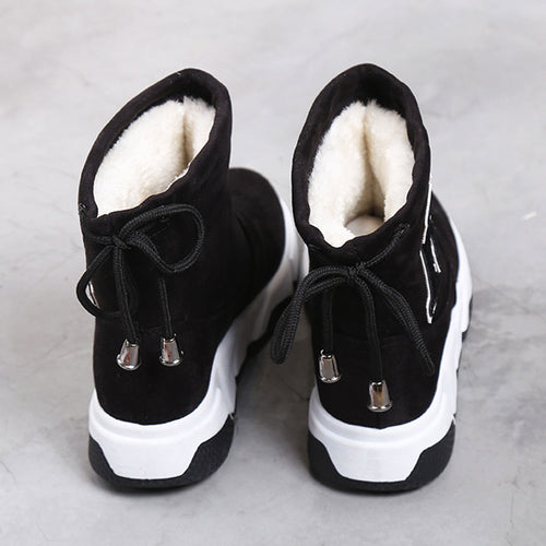 Snow Boots Elastic-band Ankle Boots Warm Plush Insole Platform Shoes Black
