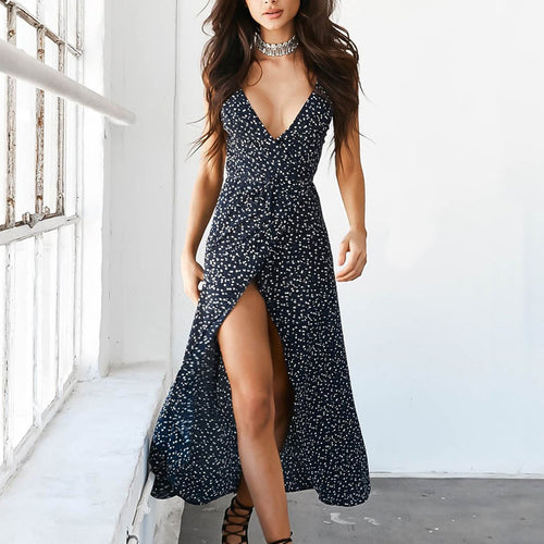 Floral Print Chiffon Long Dress 2019 Sexy V Neck Backless Boho Beach Dress Vestidos Summer Sundress Plus Size Maxi Dress