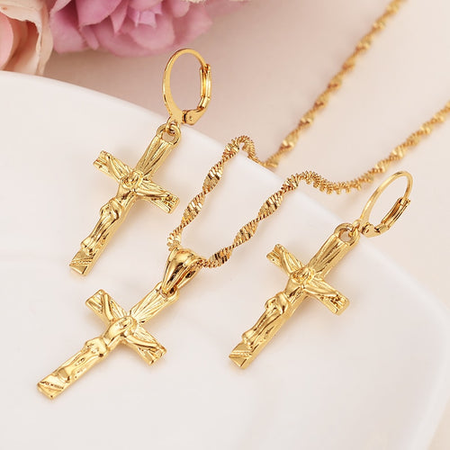 jesus  cross Jewelry sets Classical Necklaces Earrings Set Gold Color Brass
