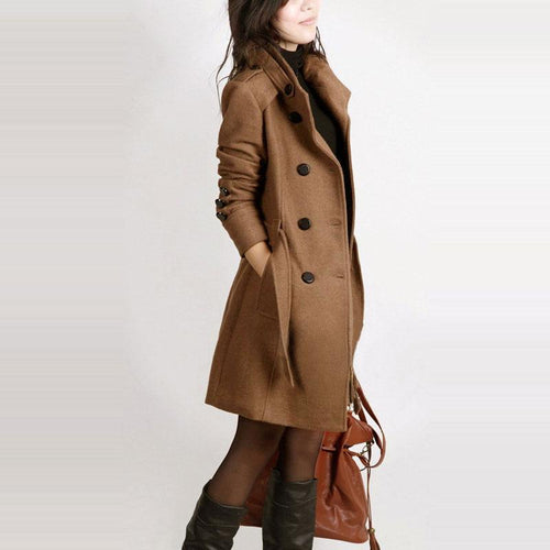 Long Sleeve Winter Wool Coat Women Europe Style Plus Size Casaco Feminino Ladies Autumn New Slim Long Woolen Coats
