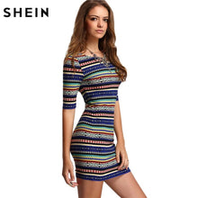 Load image into Gallery viewer, Shein Womens New Arrival Summer Stripe Dresses Sexy Club Multicolor Vintage Print Round Neck Half Sleeve Backless Bodycon Dress