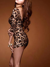 Load image into Gallery viewer, Hot Sexy Women Mini Leopard Dress Long Sleeve Open Back Bodycon Clubwear One-Piece Tops Brown