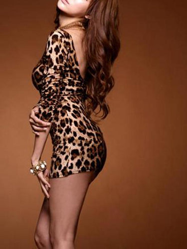 Hot Sexy Women Mini Leopard Dress Long Sleeve Open Back Bodycon Clubwear One-Piece Tops Brown