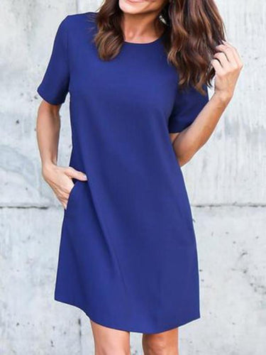 New Casual Women Chiffon Mini Dress Solid Color Round Neck Short Sleeve Pockets Summer Autumn Dress