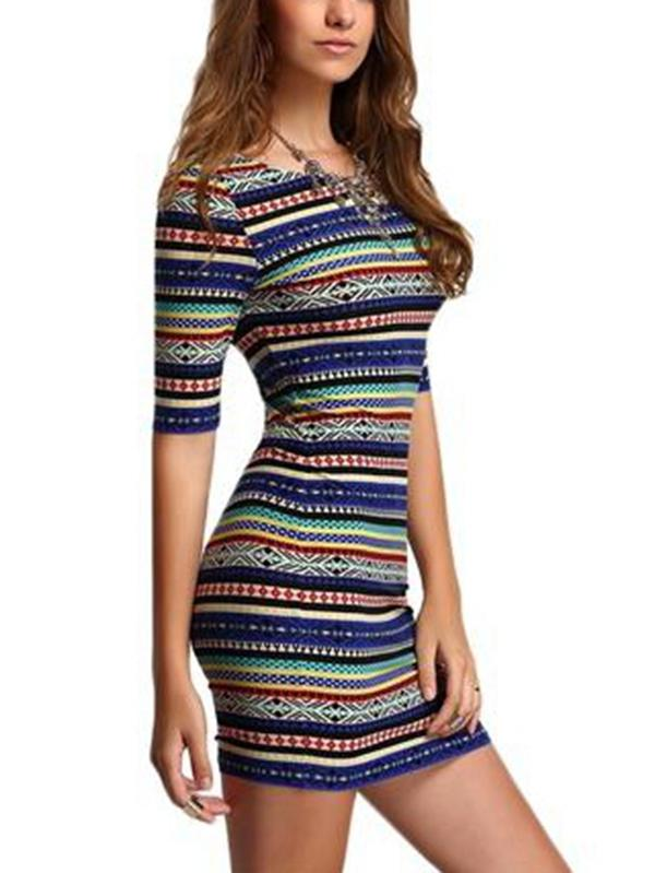 Shein Womens New Arrival Summer Stripe Dresses Sexy Club Multicolor Vintage Print Round Neck Half Sleeve Backless Bodycon Dress