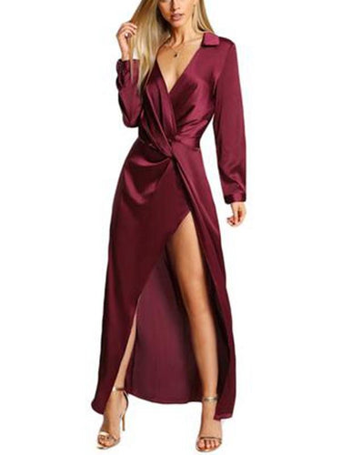 Burgundy Sexy Party Dress Satin Front Twist Wrap Dress Lapel Deep V Neck Long Sleeve Split Maxi Shirt Dress