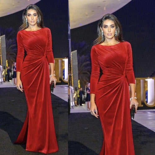 red prom dresses 2019 long sleeve pleats mermaid velvet evening dresses gowns arabic party dresses