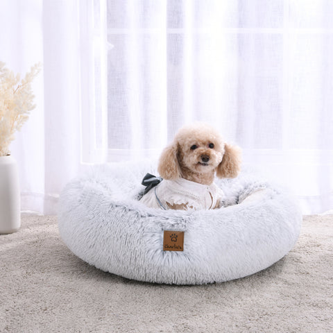 Dog Calming Bed Snookie Hooded Pet Nest Bed Faux Fur Artic White Chinchilla