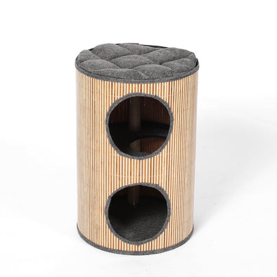 Deluxe Bamboo Cat Barrel Scratcher