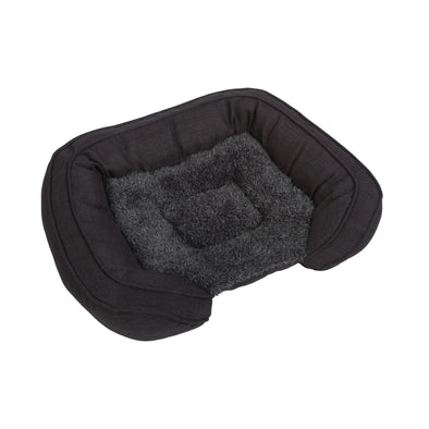 Pet Faux Fur Bed with Padded Bolster Grey
