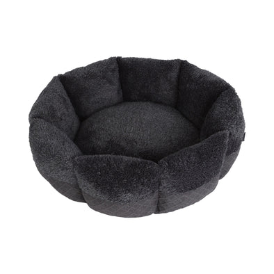 Pet Faux Fur Calming Bed with Bolster Round Grey