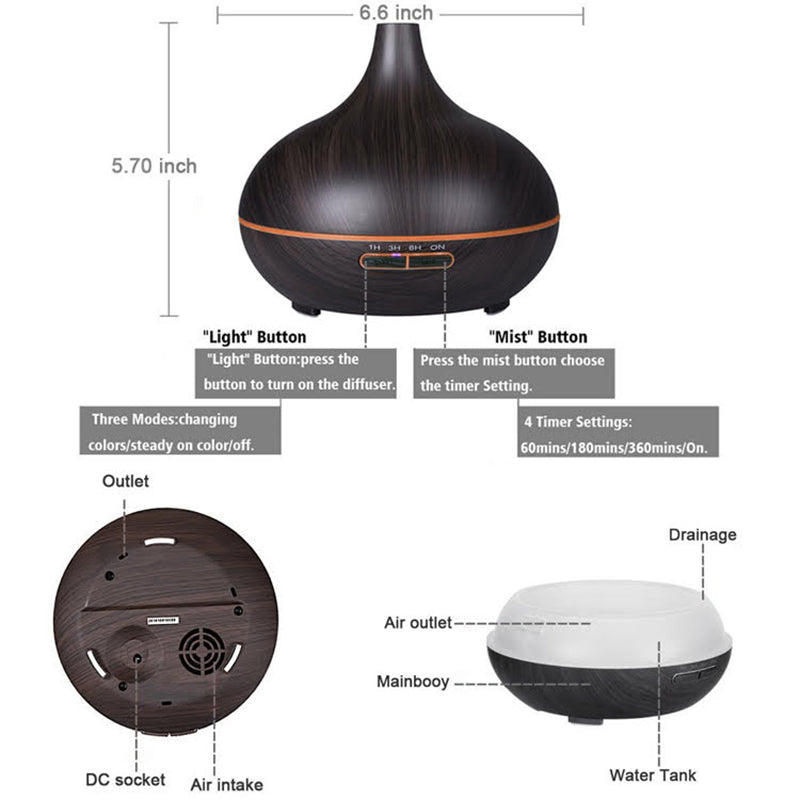 Darkwood Humidifier with LED light