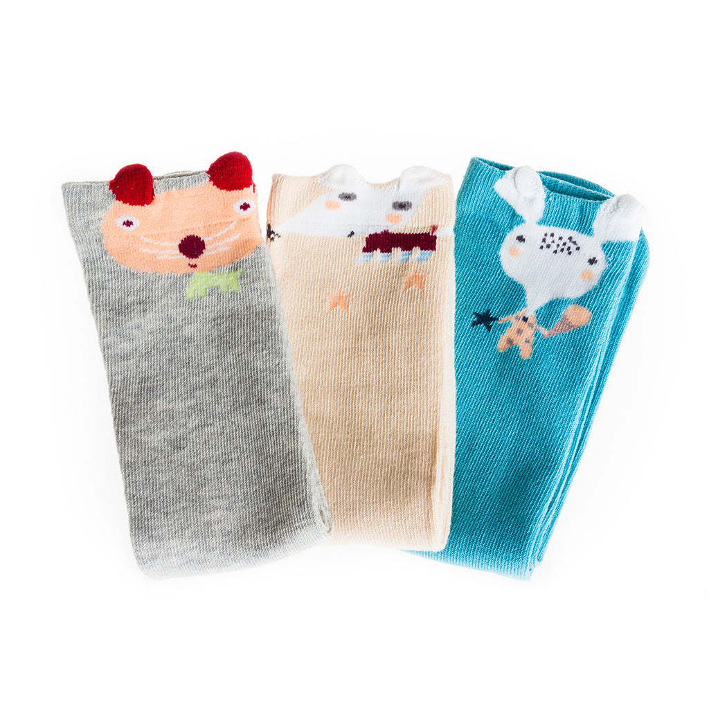 Sock Set 3 (Blue, Grey, Off-White) Medium