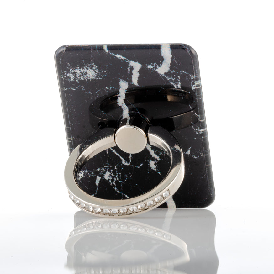 Black mobile phone ring stand