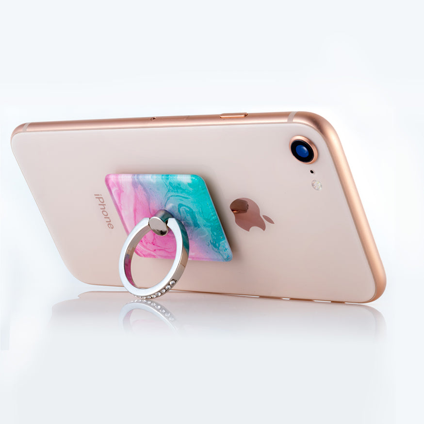 Green/pink mobile phone ring stand